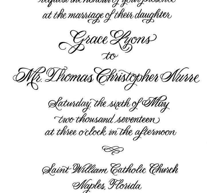 Recent Calligraphy: Custom Calligraphy Wedding Invitation