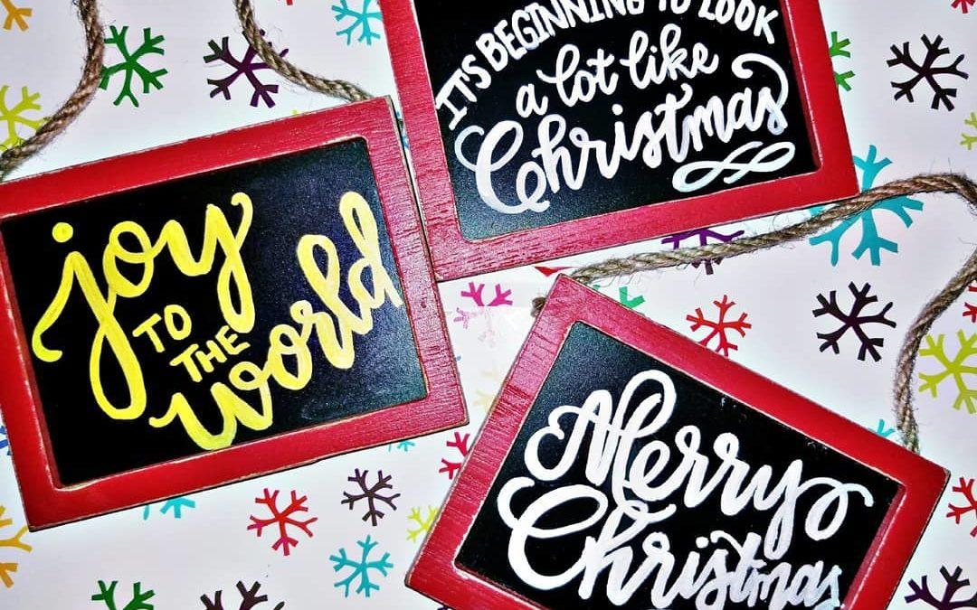 Chalkboard Calligraphy Christmas Ornaments