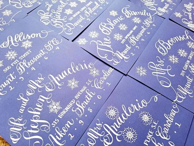 Christmas Calligraphy Snowflake Heat Embossed Envelopes